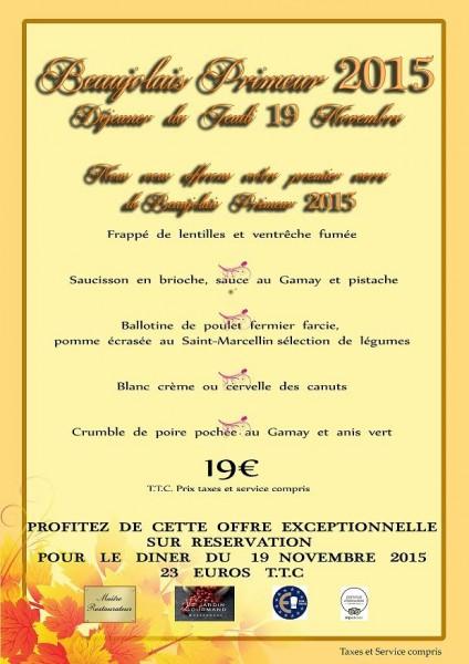 Une id e sympa de repas beaujolais nouveau 19 for Le jardin gourmand lyon